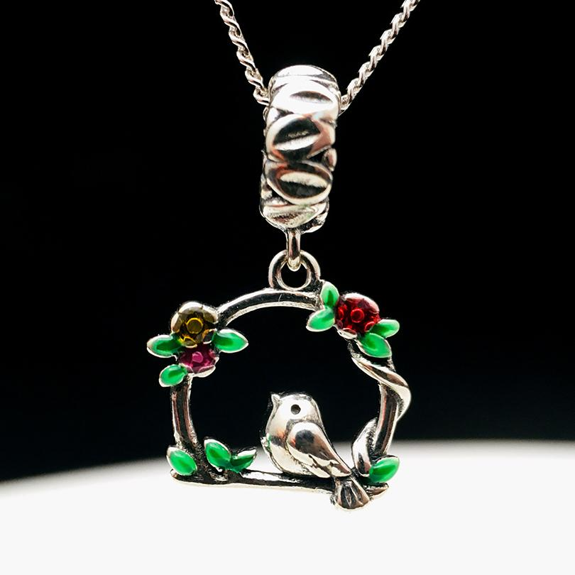 Bird On Branch Silver Necklace