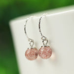 Pretty Strawberry Quartz Silver Drop Earrings