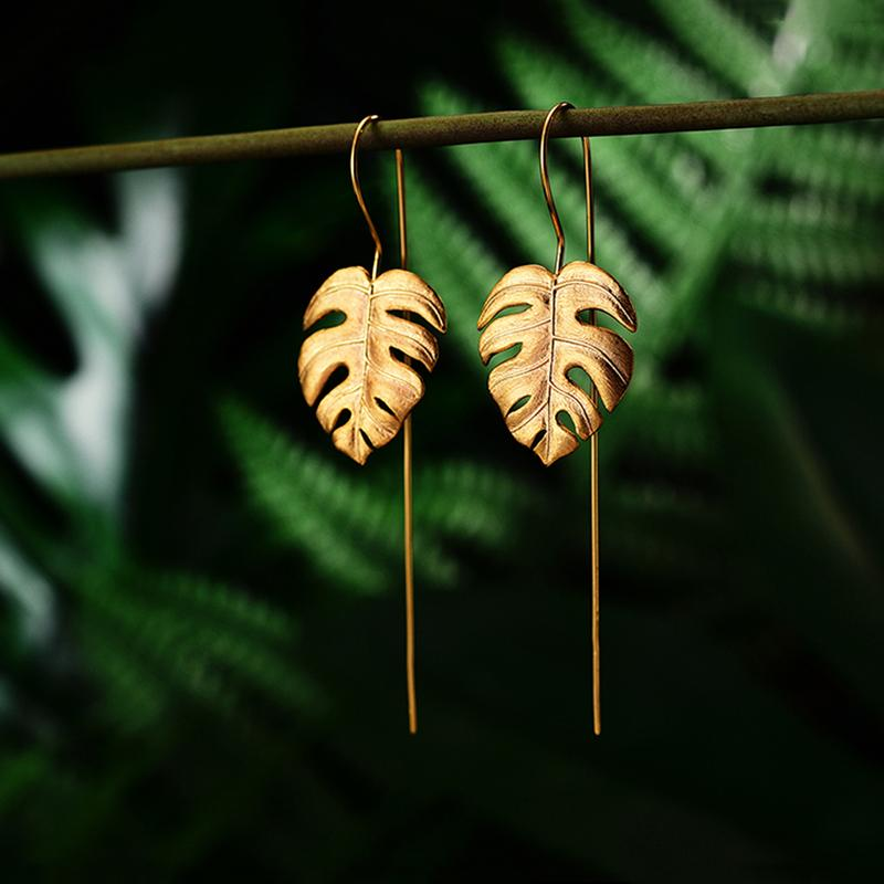 Vintage Leaf Silver Drop Earrings