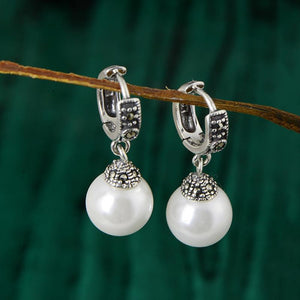 Vintage Handmade Pearl Silver Earrings