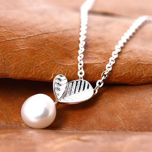Silver Favorite Pearl Leaves Necklace
