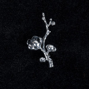 Love Comes Flower Silver Brooch