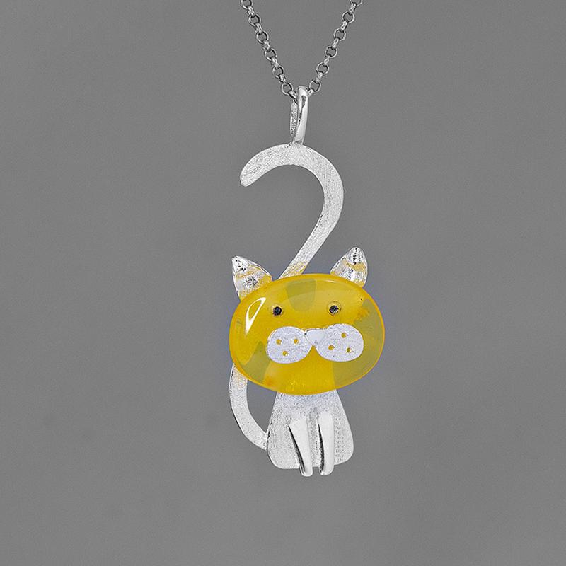 Lovely Amber Kitty Necklace