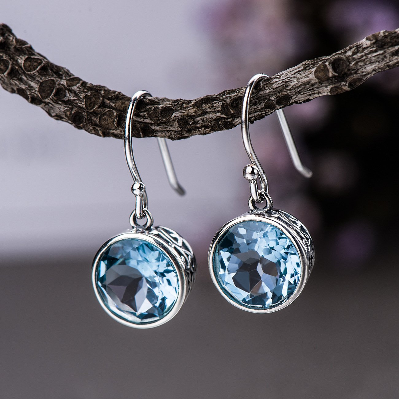 S925  Blue Topaz Drop Earrings