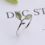 Green Opal Leaves Open Ring