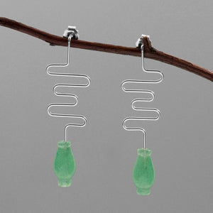 Handmade Vase Jade Silver Earrings