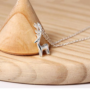 Cheer Up Reindeer Silver Necklace