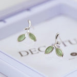 Green Opal Leaves Buds Stud Earrings
