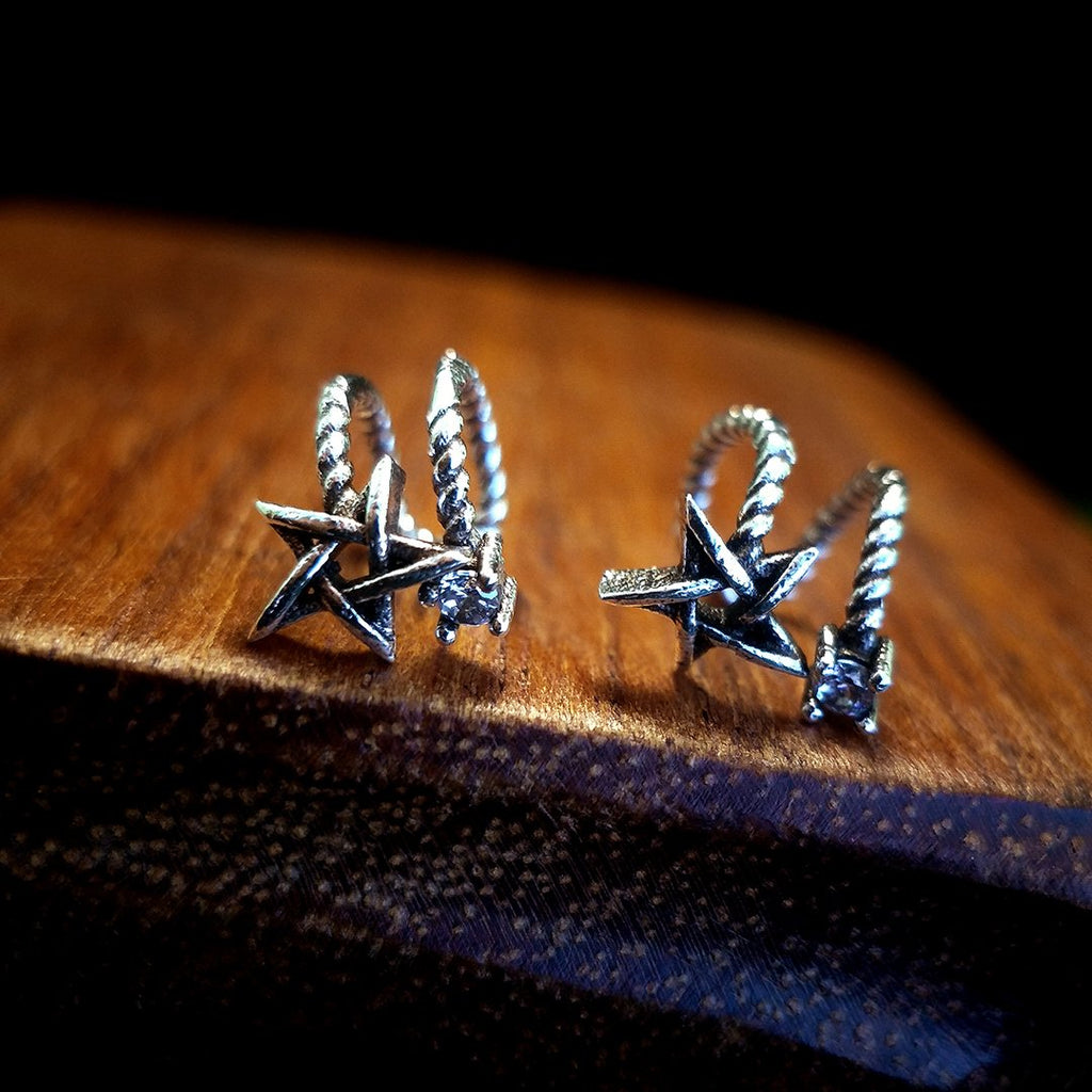 Unique Star Silver Clip-on Earrings
