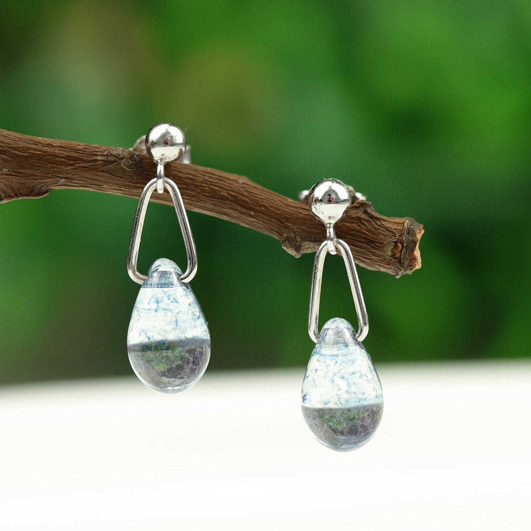 Blue Waterdrop Silver Earrings