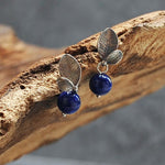 Vintage Natural Lapis Leaves Earrings