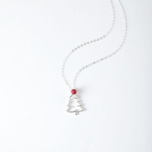 Christmas Tree Silver Necklace