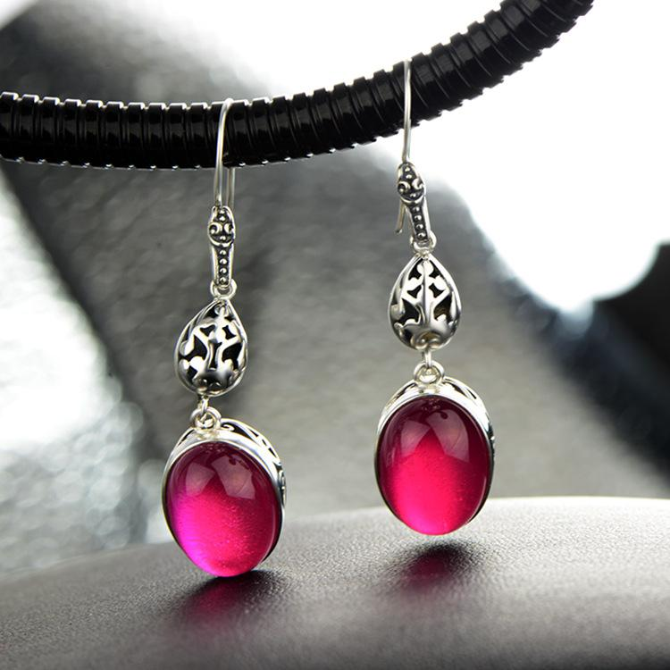 Stunning Red Corundum Drop Earrings