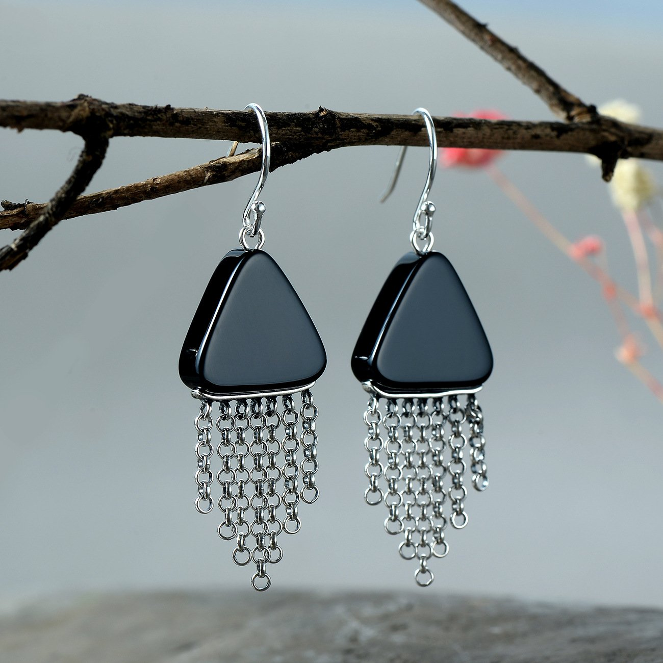 Black Agate Tassel Drop Earrings