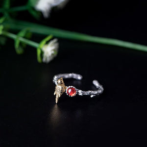 Exquisite Garnet Bird Open Ring
