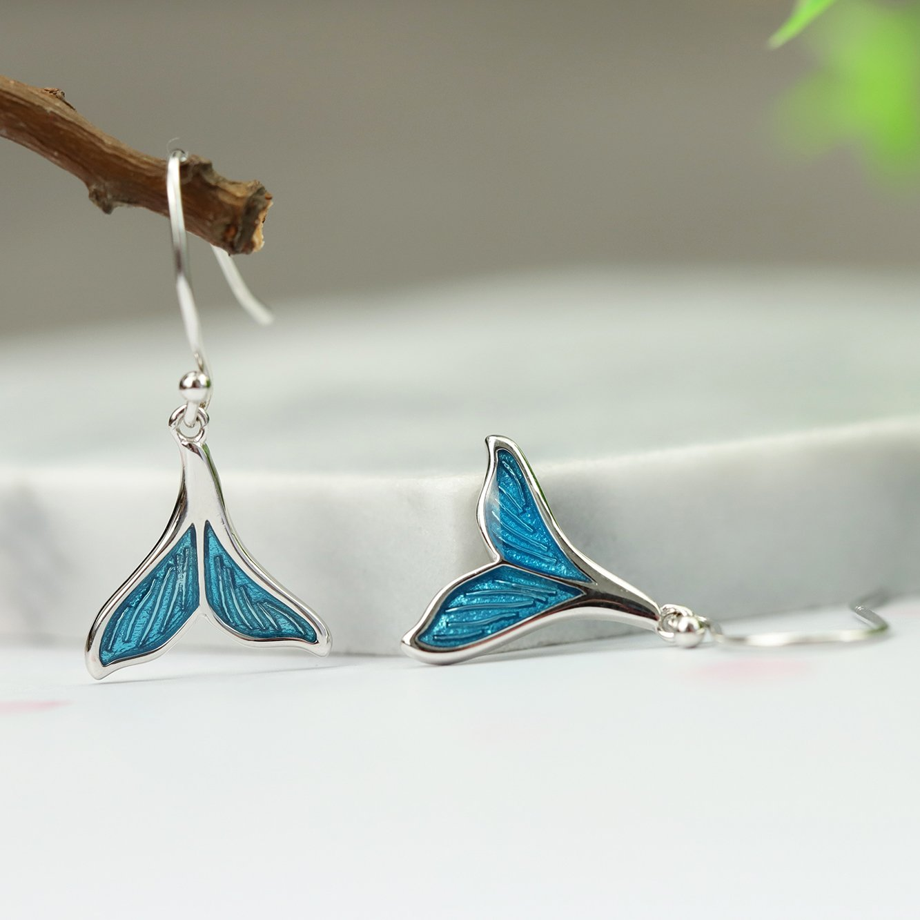 Mermaid Silver Drop Earrings