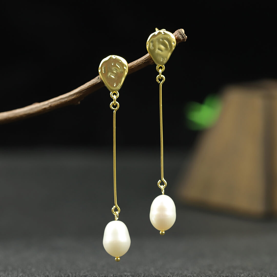 Natural Baroque Pearl Silver Earrings