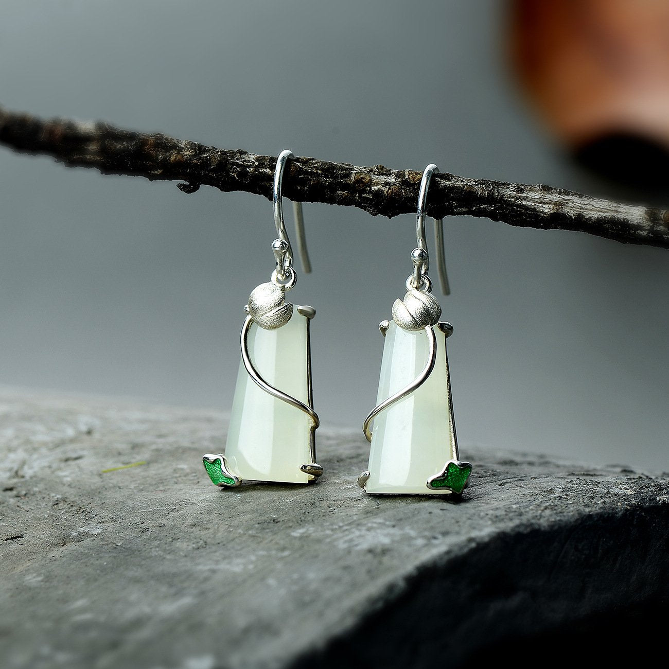 Natural Jade lotus Drop Earrings