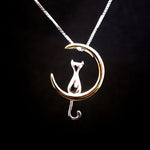 Cat and Moon Silver Necklace