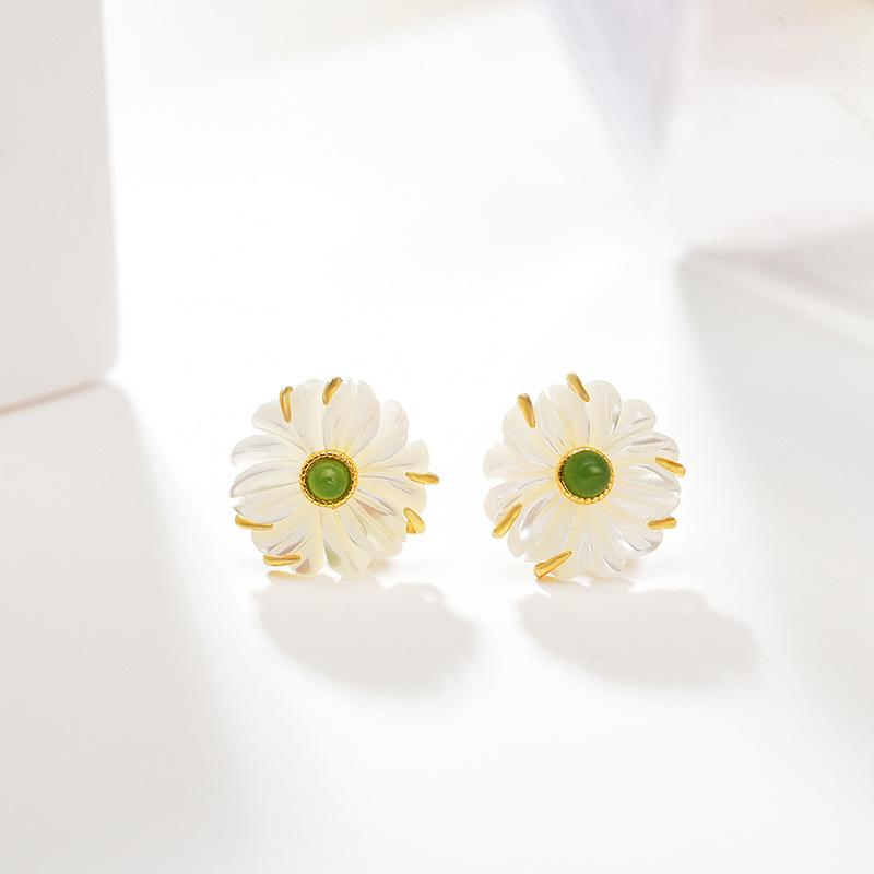 Natural Shellstone Daisy Stud Earrings