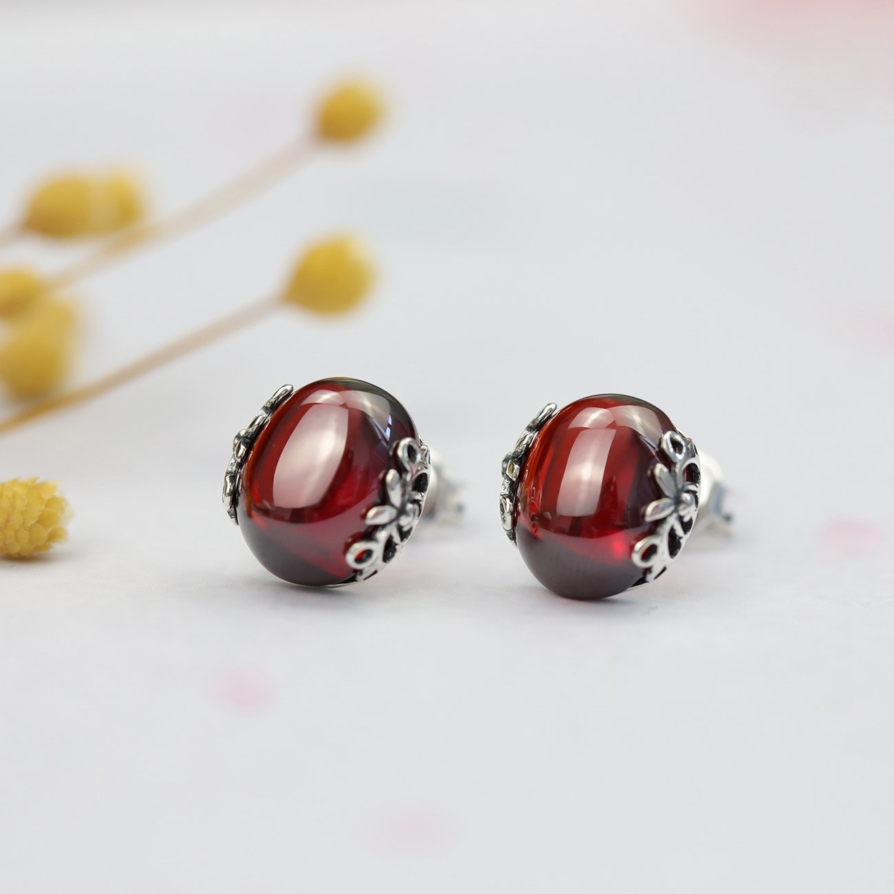 Vintage Red Engraved Crystal Stud Earrings