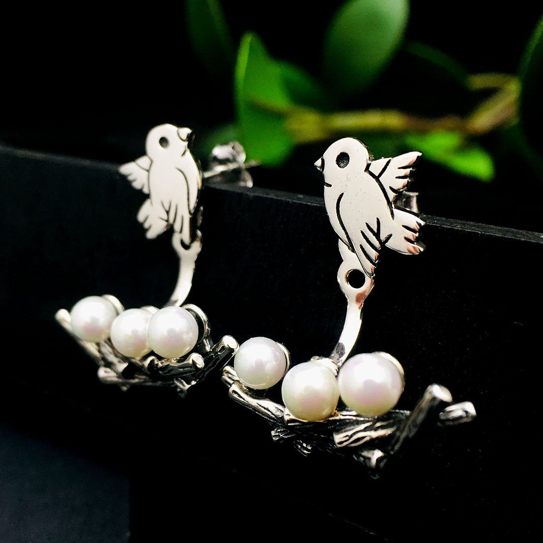 Vintage Bird and Pearls on Branch Earrings