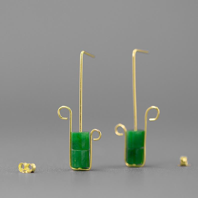 Simple Style Green Jade Stud Earrings