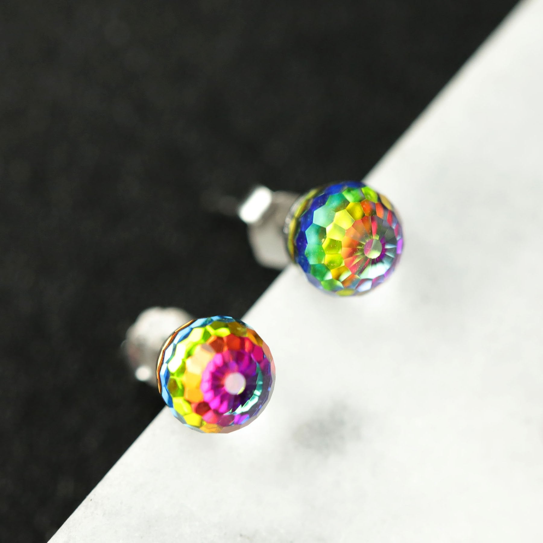 Gorgeous Crystal Ball Silver Earrings
