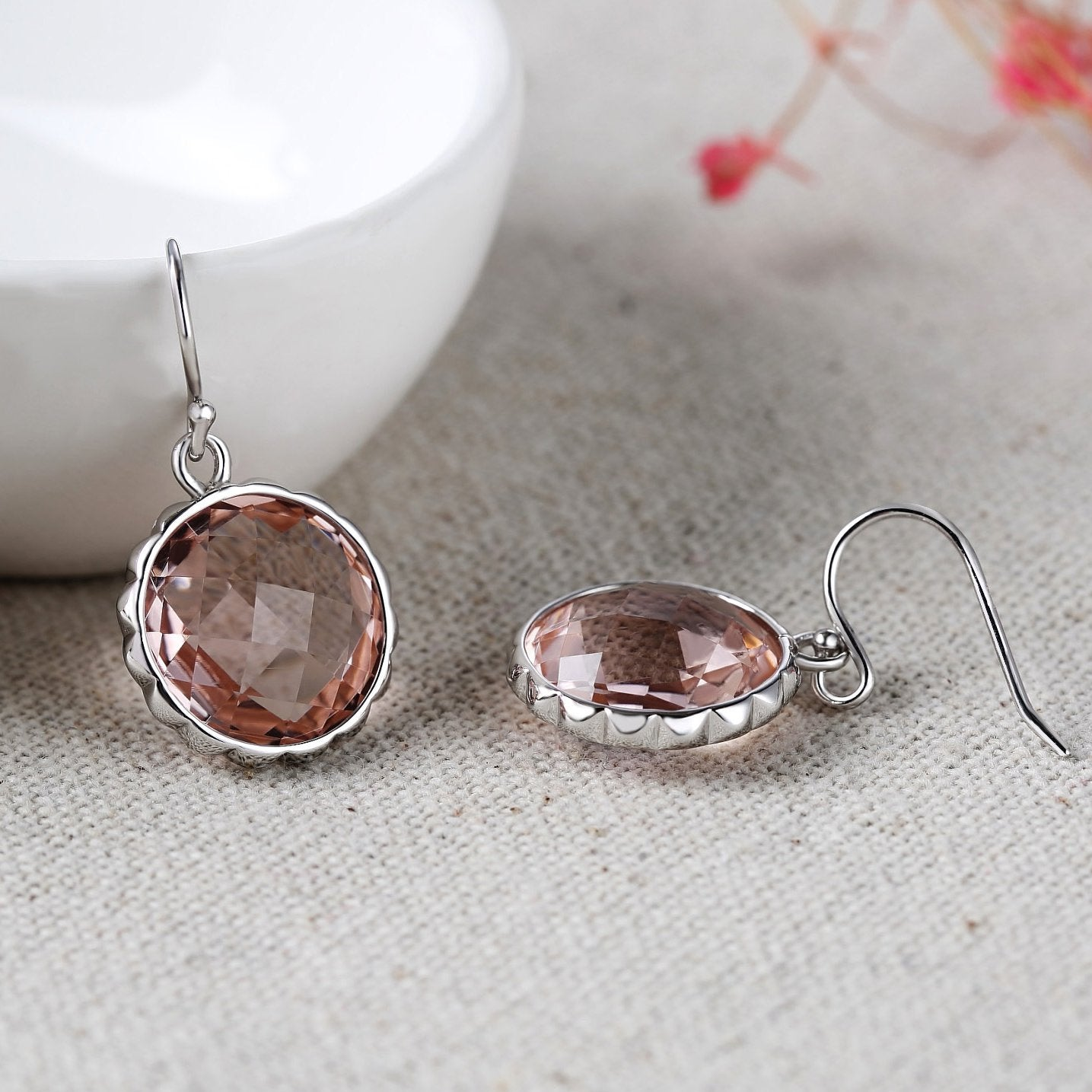 Delicate Round Crystal Drop Earrings