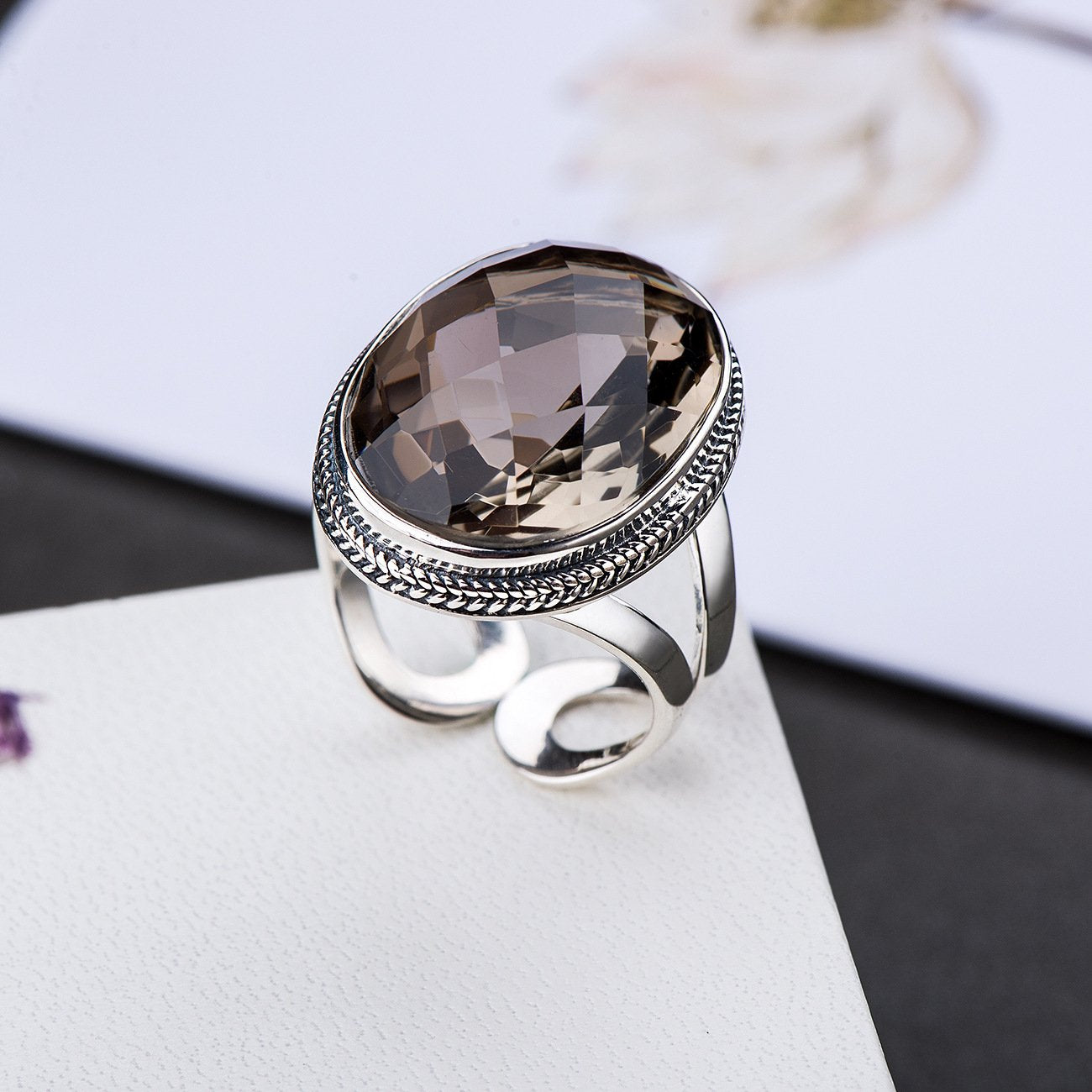 Gorgeous Tawny Crystal Adjustable Ring