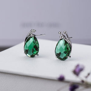 S925 Green Crystal Stud Earrings