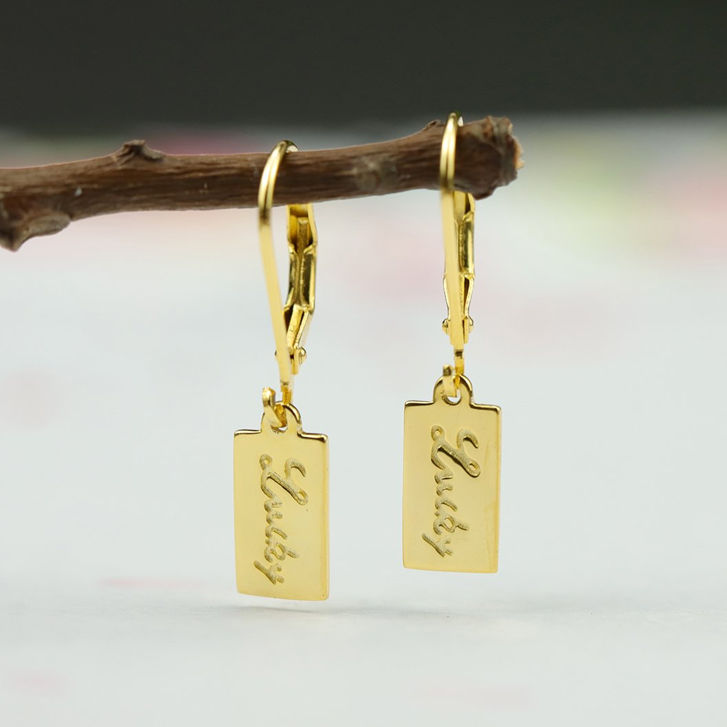 Lucky as You Letters Earrings