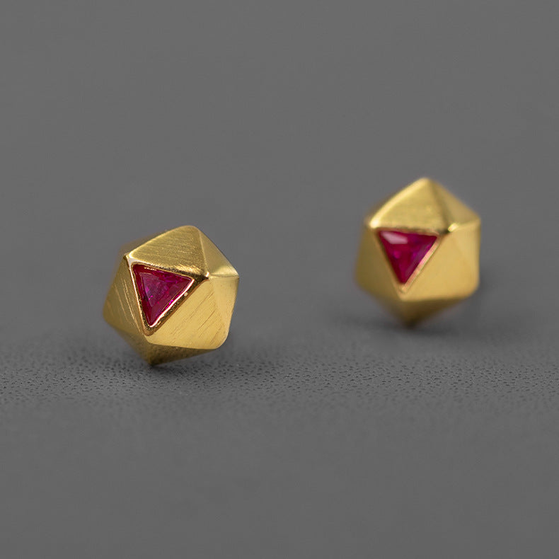 Geometry Golden Rose Stud Earrings
