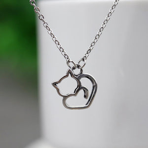 Lovely Cat Silver Necklace