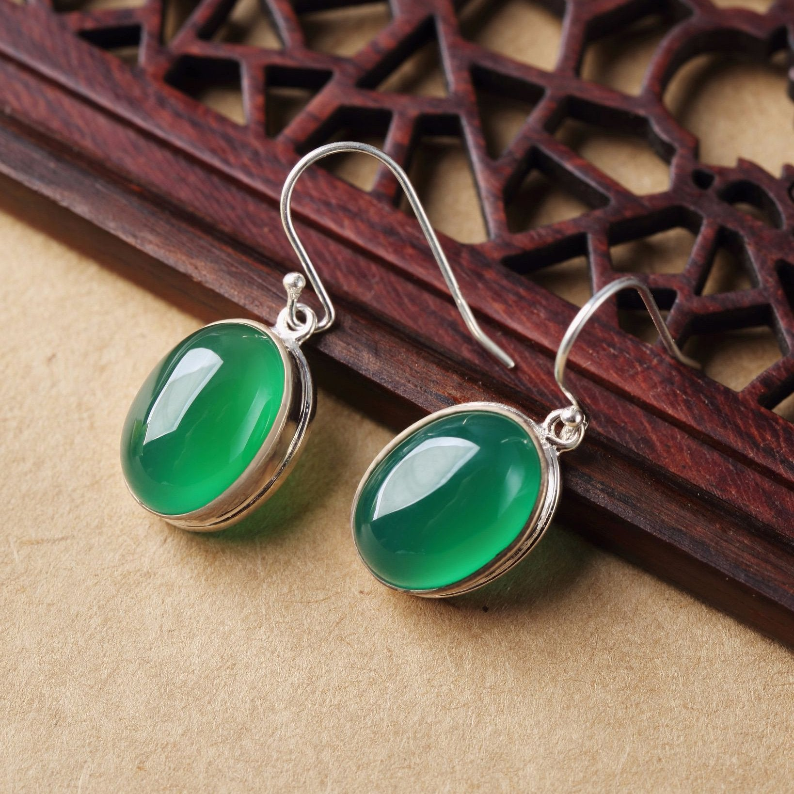 Handmade Green Jade Drop Earrings