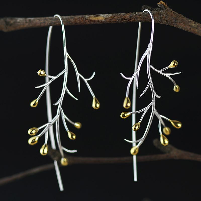 Natural Creative Handmade Statement Tree Drop Earrings