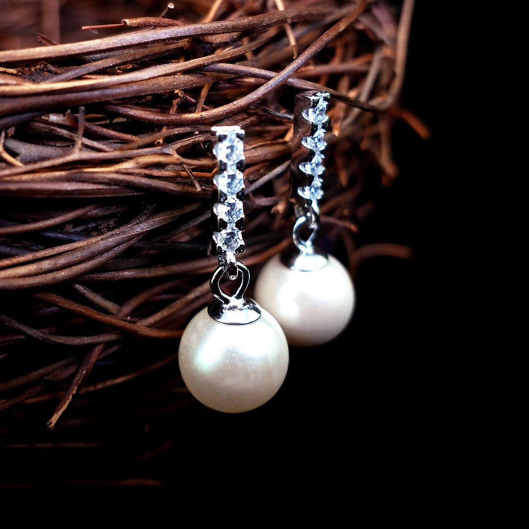 Stylish Pearl Silver Earrings