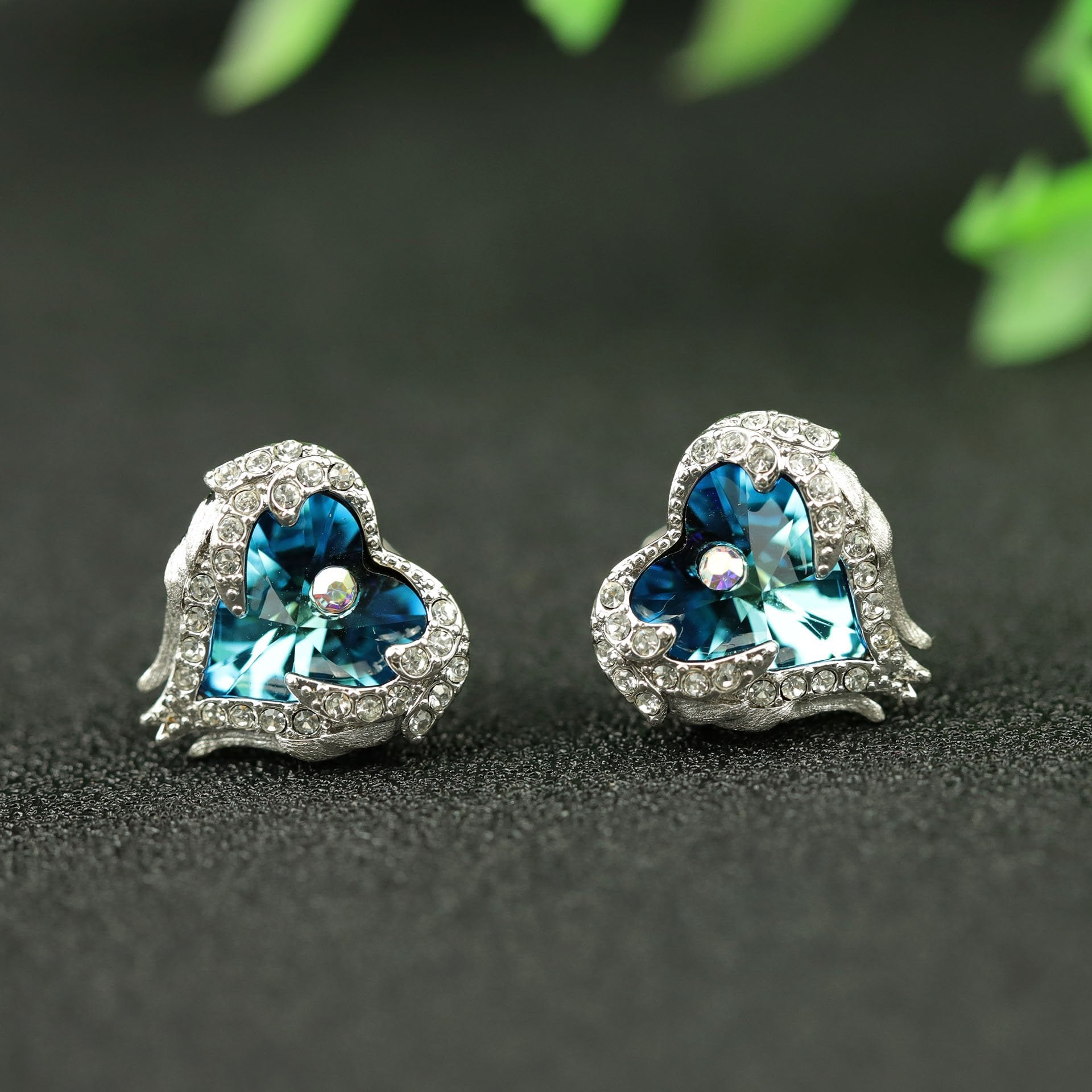 Heart of Ocean Crystal Silver Earrings