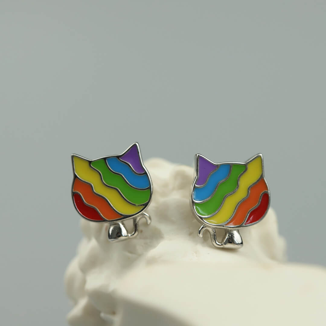 Nyan Cat Silver Stud Earrings