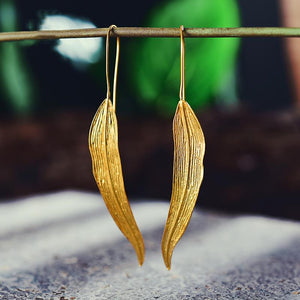 Vintage Long Leaves Drop Earrings