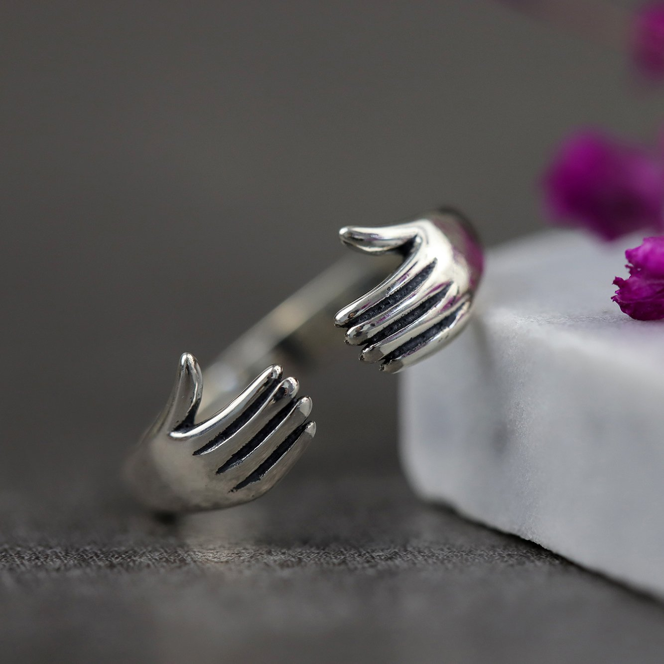 Silver Dab Hands Open Ring