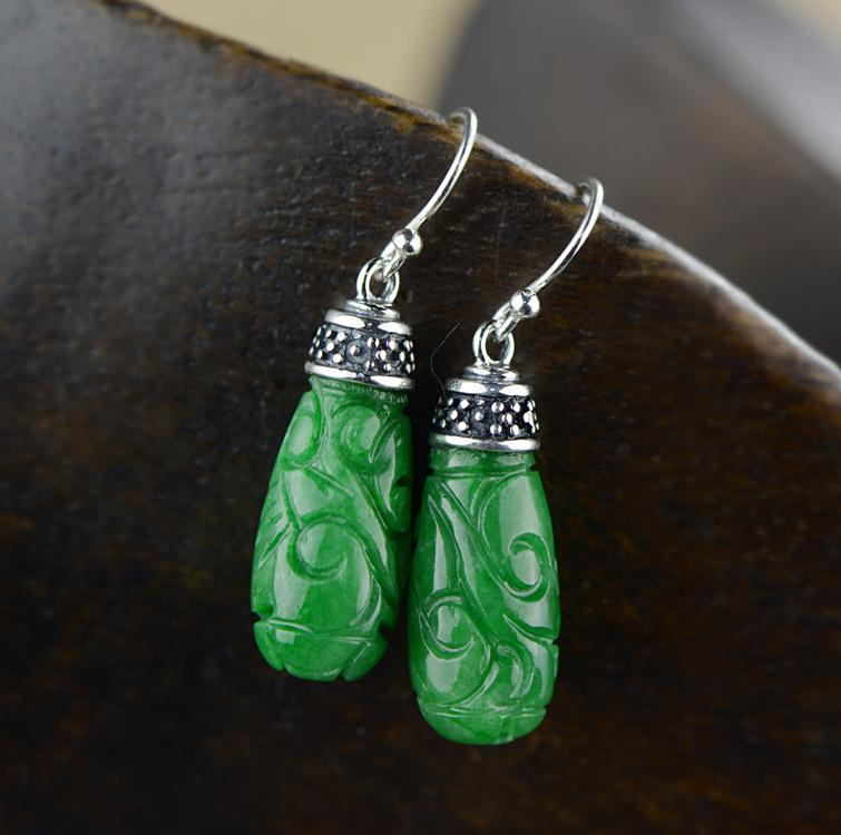 Classic Engraved Silver Drop Earrings