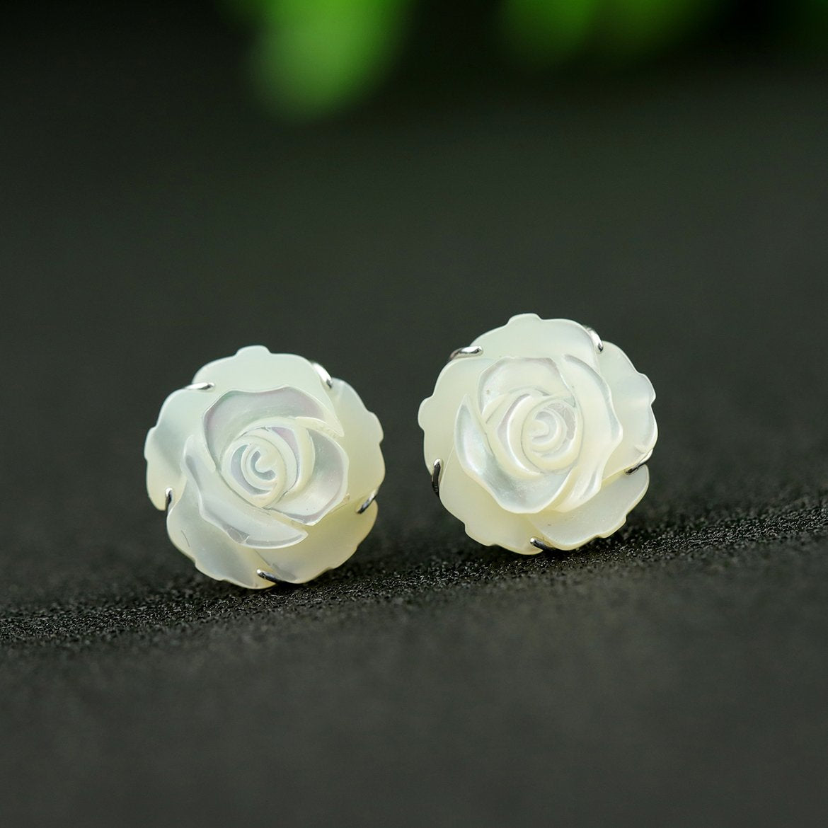 Natural Shell Rose Flower Stud Earrings