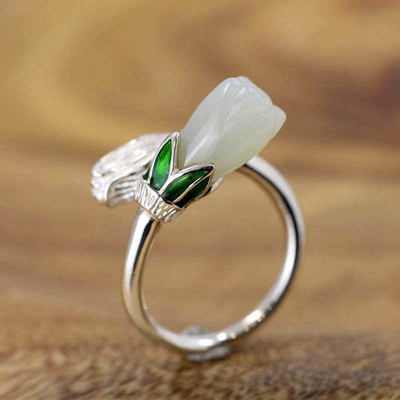Handmade Flower Jade Open Ring