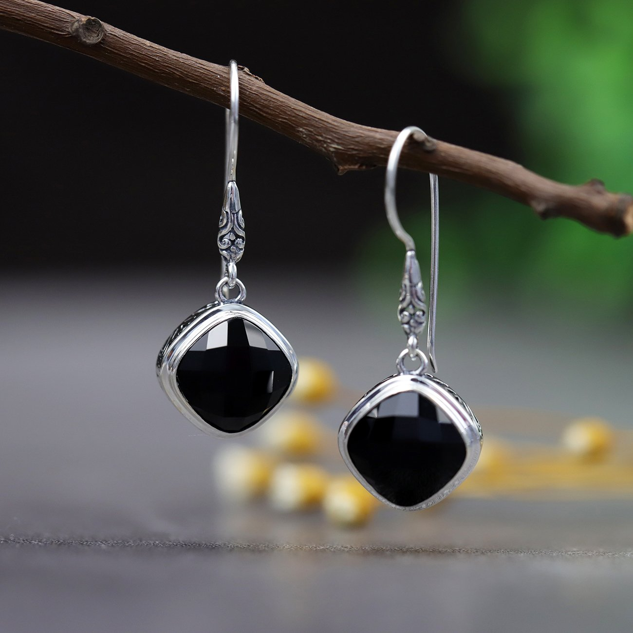 Delicate Black Agate Drop Earrings