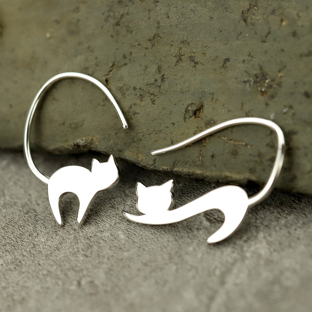 Funny Cat Silver Drop Earrings