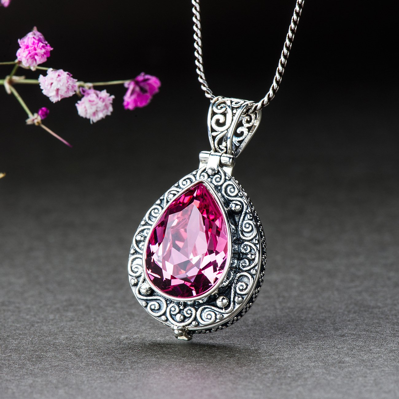 Pink Crystal Engraved Necklace
