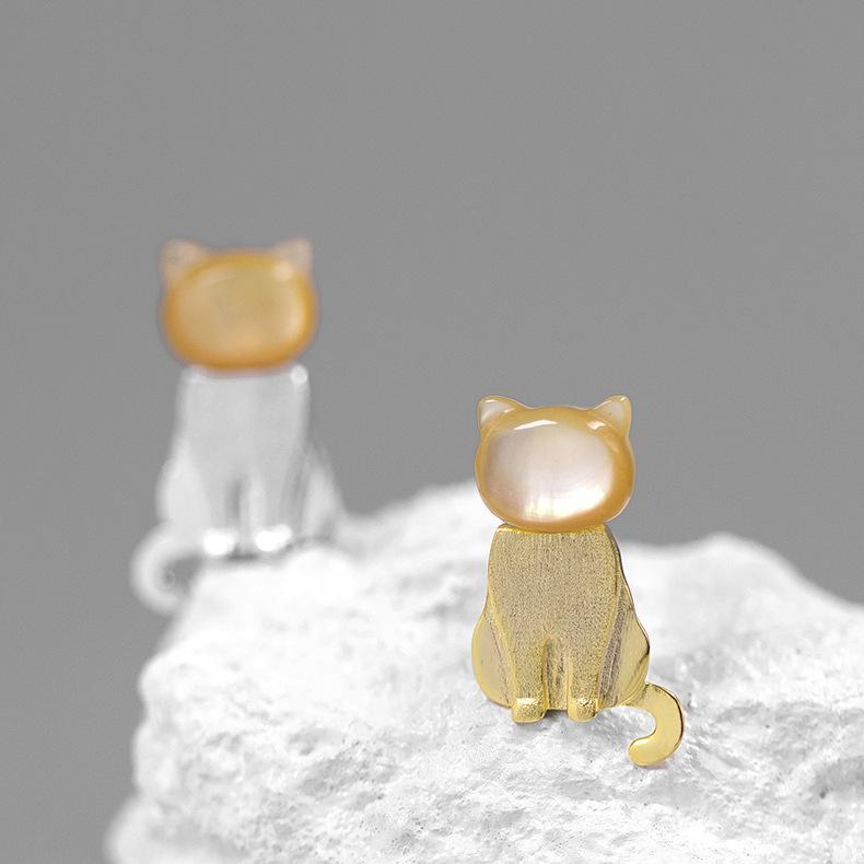 Lovely Yellow Shellstone Cat Stud Earrings