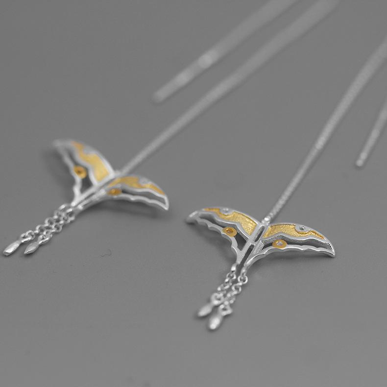 Butterfly Kite Long Silver Earrings