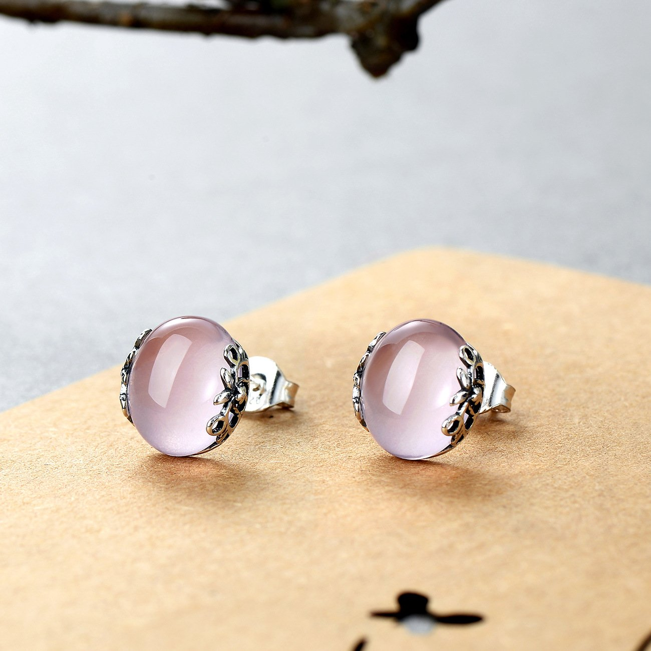 Vintage Pink  Engraving Crystal Stud Earrings